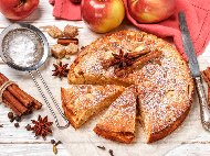 Рецепта Лесен пухкав кекс с ябълки (с бакпулвер)